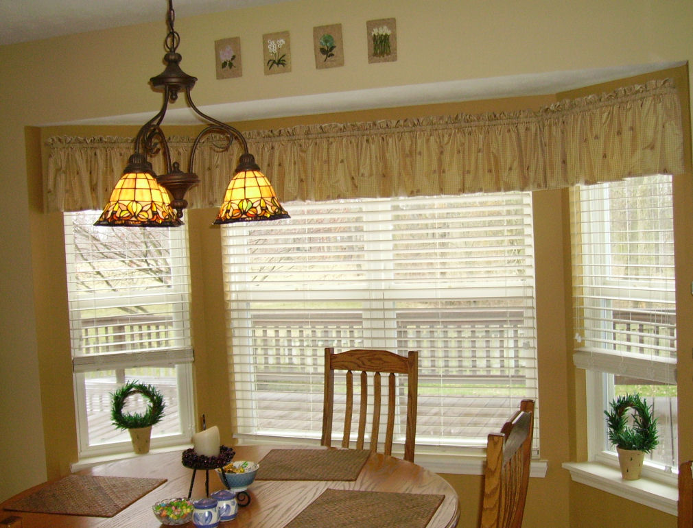 Silk Curtains Bay Window Kitchen Solid Taupe Swag For
