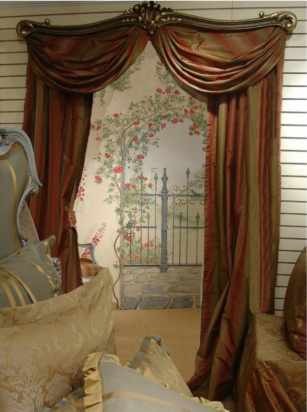 pottery barn silk drapes, how to hang drapes, linen drapes, bed drapes