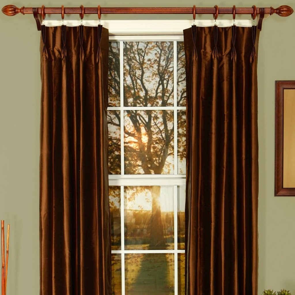 bay window drapes, brown drapes, thermal pinch pleat drapes, lined drapes