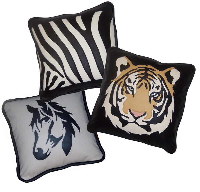 cowhide and leather pillows, bath pillows, gusseted pillows, queen pillows