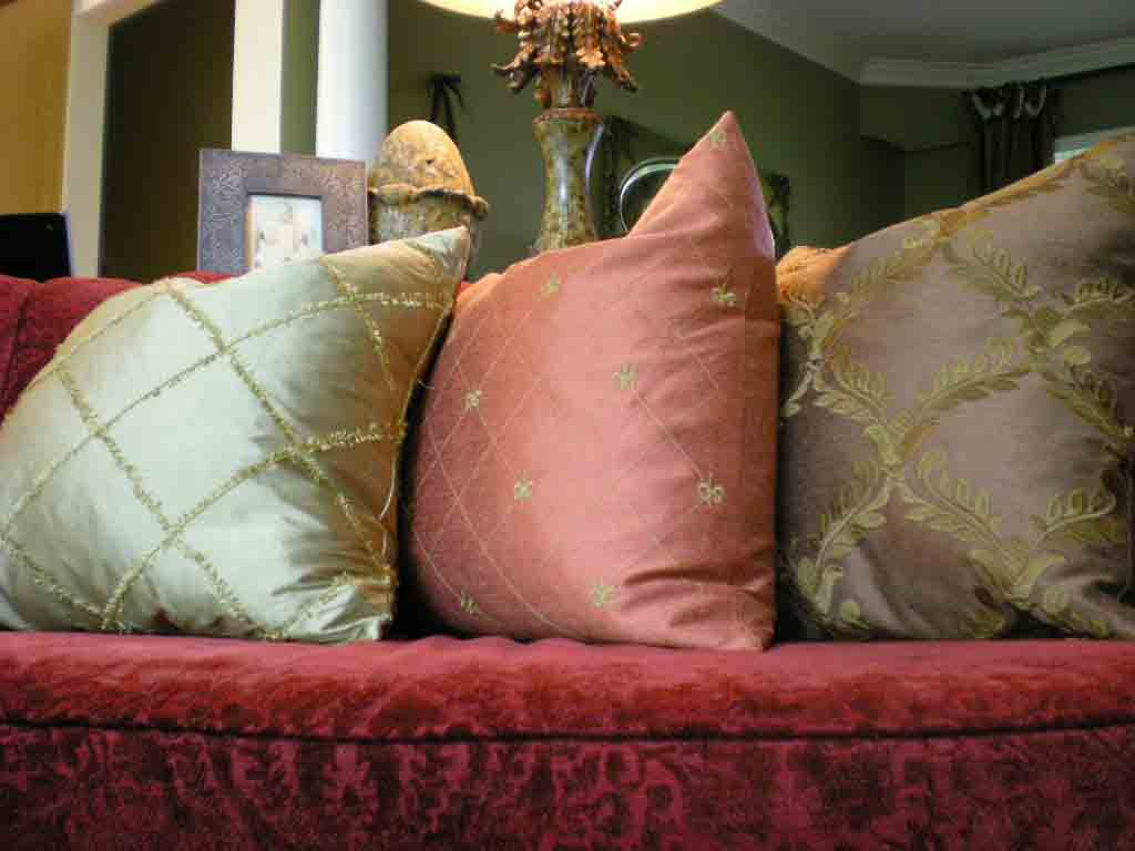 pillows, cowhide and leather pillows, sofa pillows, patterns for attaching silk petals to accent pillows